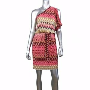 Maggie London Pink Print One Shoulder Dress 4
